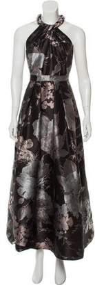 Carmen Marc Valvo Embellished Floral Gown