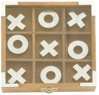 Uma Enterprises Updated Traditional Wood and Aluminum Tic Tac Toe Toy, Silver