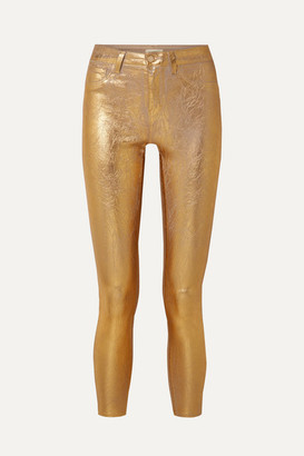 L'Agence Margot Metallic Coated High-rise Skinny Jeans
