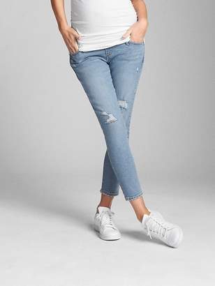 Gap Maternity Full Panel True Skinny Crop Jeans in Destructed