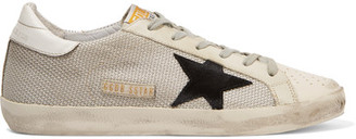 Golden Goose Deluxe Brand - Super Star Distressed Leather-paneled Mesh Sneakers - White $445 thestylecure.com