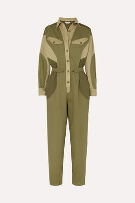 Etoile Isabel Marant Guan Cotton-twill Jumpsuit - Army green