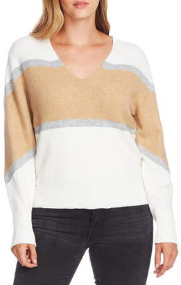 Vince Camuto Bishop Sleeve Colorblock V-Neck Sweater