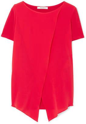 Max Mara Layered Silk-georgette And Stretch-jersey Top