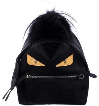 Fendi Fox-Trimmed Monster Nylon Backpack