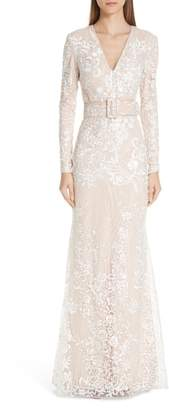 Badgley Mischka Platinum Embroidered Belted Gown