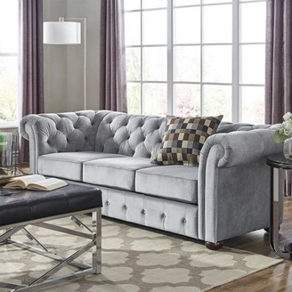 Weston Home Bowman Tufted Sofa Couch With Curved Arms, Multiple Colors