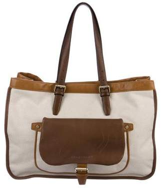 Longchamp Leather-Trimmed Canvas Tote