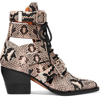 7079efca2e1 Chloé Rylee Cutout Snake-effect Leather Ankle Boots