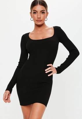 Missguided Black Square Neck Long Sleeve Knitted Mini Dress, Black