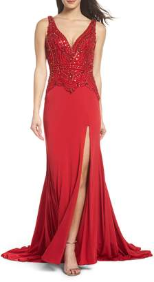 Mac Duggal Beaded Bodice Sheath Gown