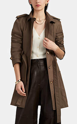 Barneys New York Women's Cotton-Blend Canvas Belted Trench Coat - Brown