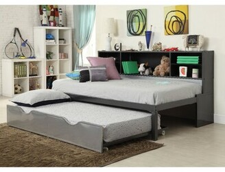 Harriet Bee Reynosa Metal Twin Bed with Bookcase and Rollout Trundle Harriet Bee