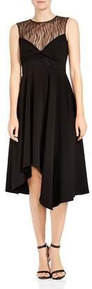Halston Lace-Inset Twist Detail Midi Dress