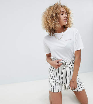 Asos Design Petite Tailored Linen Casual Short With Tie Waist In Stripe