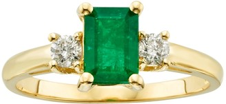 The Regal Collection 14k Gold Genuine Emerald & 1/5-ct. T.W. IGL Certified Diamond 3-Stone Ring