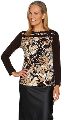 Susan Graver Printed Liquid Knit Top with Solid Back and Sleeves
