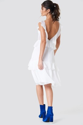 Na Kd Trend Deep Back Frill Chiffon Dress