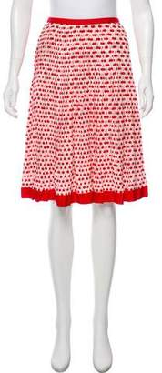 Oscar de la Renta Silk Cherry Printed Skirt