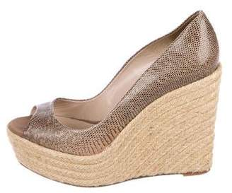 Brian Atwood Snakeskin Espadrille Wedges