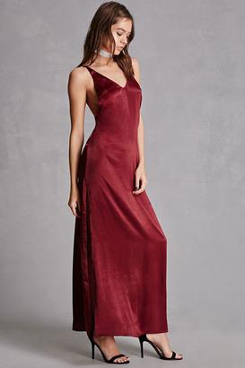FOREVER 21+ Satin V-Neck Maxi Dress $48 thestylecure.com