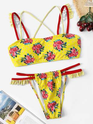 150560d145 Shein Random Floral Criss Cross Top With Tanga Bikini