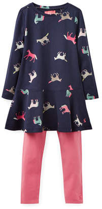 Joules Iona Jersey Horse-Print Dress w/ Matching Leggings, Size 2-6