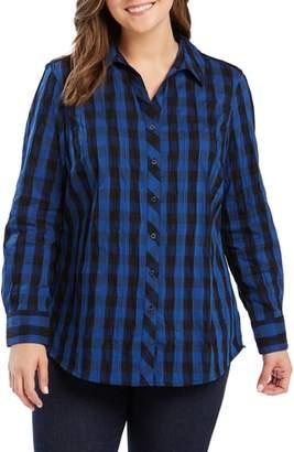 Foxcroft Mary Buffalo Check Crinkle Shirt