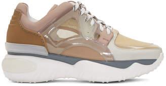 Fendi Beige and Pink Fancy Sneakers