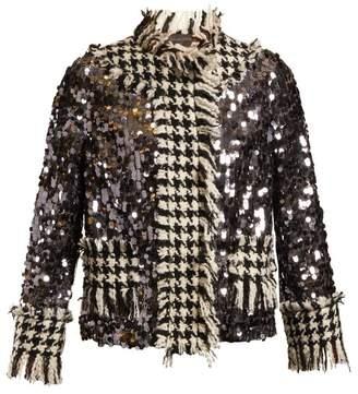 Dolce & Gabbana Contrast Panel Sequin Embellished Jacket - Womens - Dark Grey
