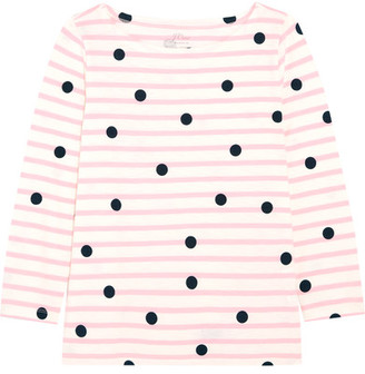 J.Crew - Printed Striped Cotton-jersey Top - Pink $39.50 thestylecure.com