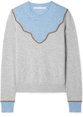 Veronica Beard Atty Color-block Cashmere Sweater - Light gray
