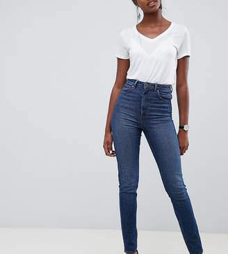 Asos Tall DESIGN Tall Farleigh high waist slim mom jeans in dark wash textured stripe