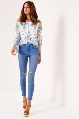 Lipsy Kate Mid Rise Skinny Regular Jean - 6 - Blue
