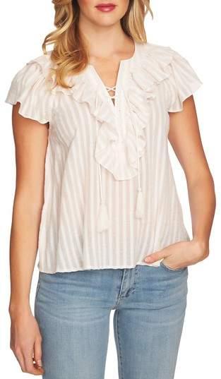CeCe Lace Up Ruffle Stripe Cotton Blouse