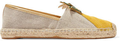 Tory Burch - Castaway Leather-paneled Linen-canvas Espadrilles - Beige