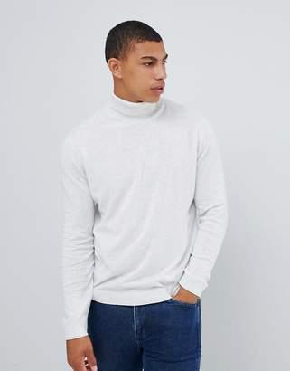 Asos Design DESIGN cotton roll neck jumper in white marl