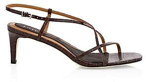 Joie Women's Malou Croc-Embossed Leather Strappy Sandals
