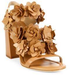 Tory Burch Blossom Leather Block Heel Slingback Sandals