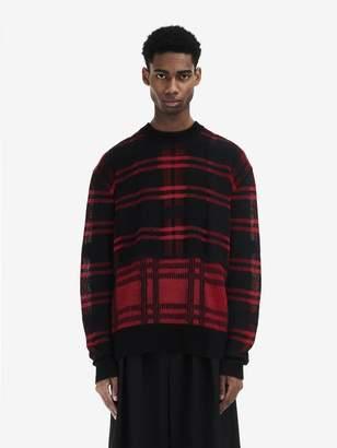 McQ Patchwork Check Crew-Neck Sweater