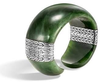 John Hardy Classic Chain Cuff With Green Jade