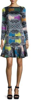 Etro Paisley Diamond Long-Sleeve Flounce Dress, Rainbow $1,970 thestylecure.com