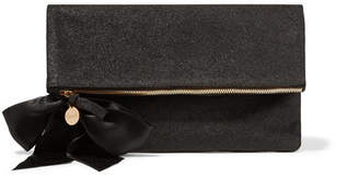 Clare Vivier Bow-embellished Glittered Suede Clutch - Black