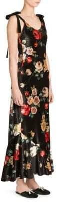 ATTICO Tie-Shoulder Floral Velvet Slip Dress