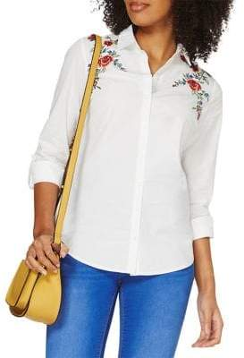 Dorothy Perkins Floral-Embroidered Button-Down Shirt
