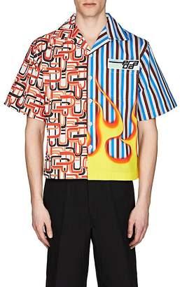 Prada Men's Rubber-Patch Cotton Bowling Shirt