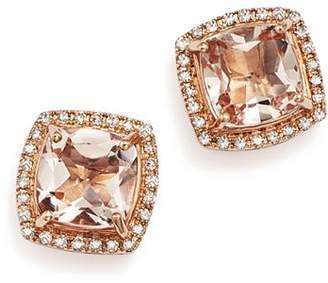 Bloomingdale's Morganite Stud Earrings with Diamonds in 14K Rose Gold - 100% Exclusive