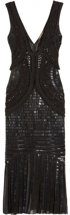 Roberto Cavalli Embellished open-knit dress