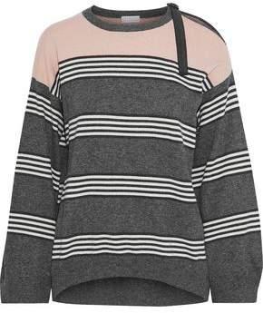 Brunello Cucinelli Bead-Embellished Striped Cashmere Sweater