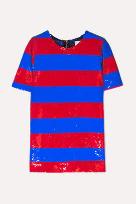 Halpern - Striped Sequined Tulle T-shirt - Blue
